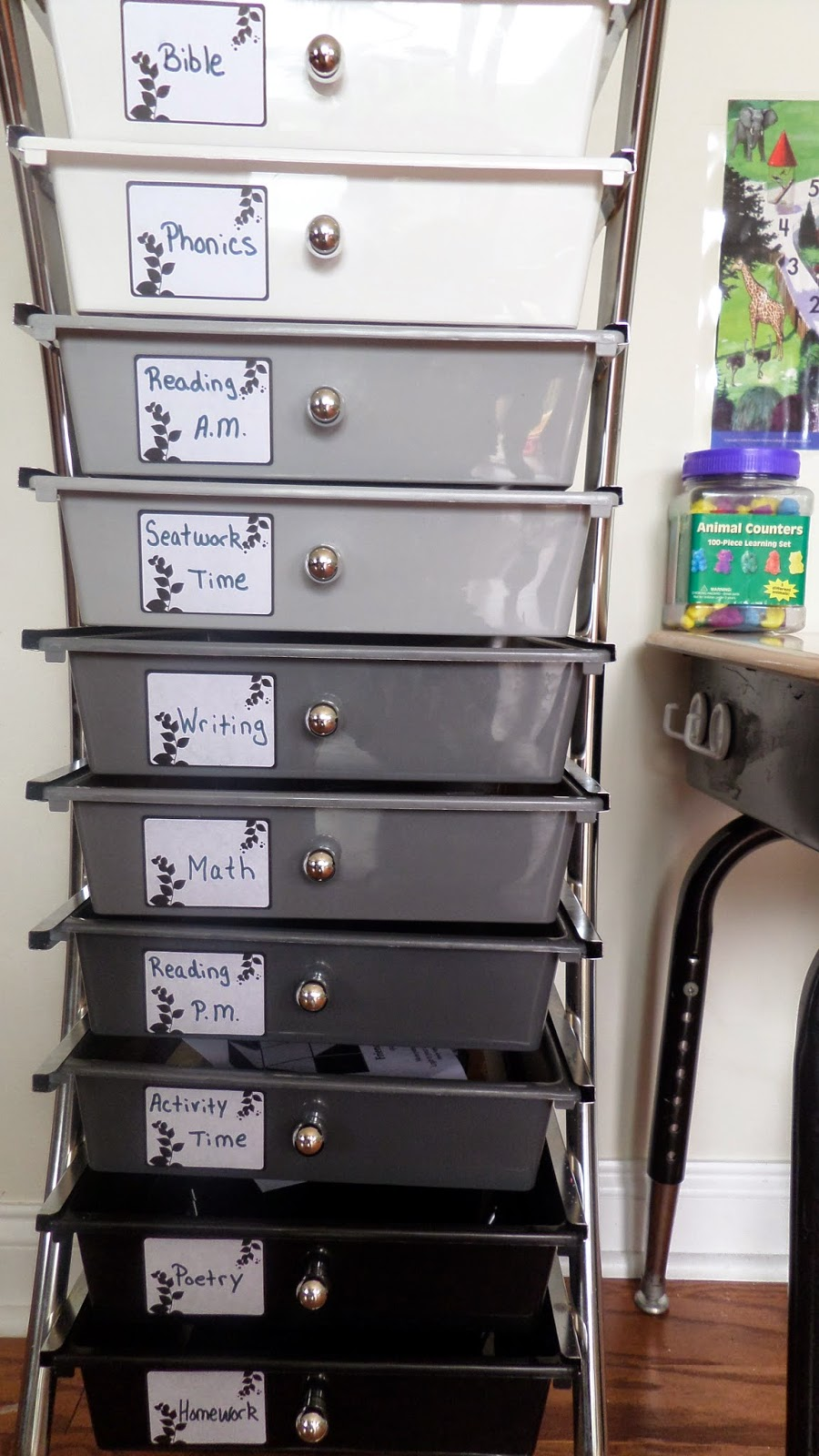 10 drawer cart for homeschool organization